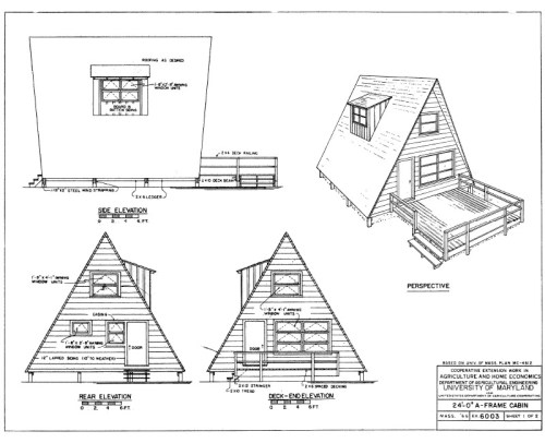 A-Frame plans for a 24' A-Frame Cabin, from the Cooperative Extension associated with the University of Maryland