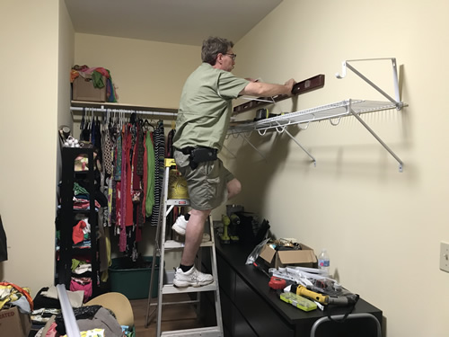 This time he made sure I could reach before he put up the shelves.