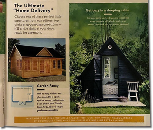"""The Ultimate """"Home Delivery"""" Tiny House Special Good Housekeeping magazine August 2019"""