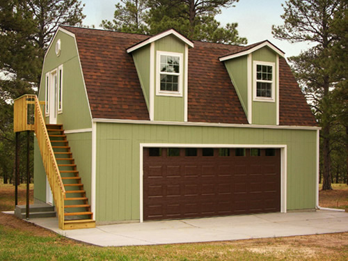 Tuff Shed Barn with optional dormers, garage door and stairs on the outside to reach the optional second floor