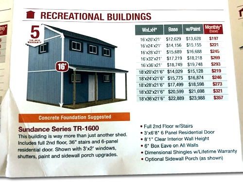 The Sundance Series TR-1600 Recreational Building in the Home Depot Tuff Shed Brochure looks exactly like the Classic Manor New Day Cabin.