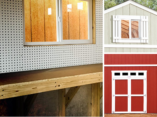 Tuff Shed Upgrades Shelves, Workbench, Pegboard, Doors, Shutters