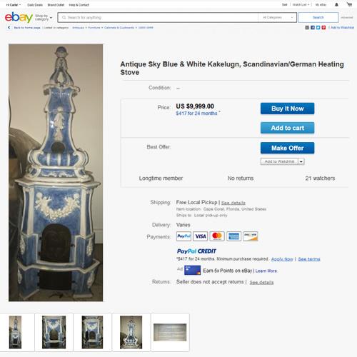 Antique Sky Blue & White Kakelugn, Scandinavian/German Heating Stove on eBay