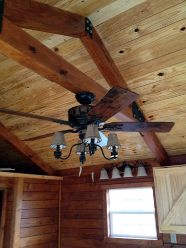 Interior view of a completed log cabin from Avery Cabin Co