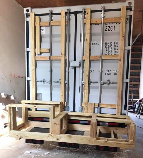 Framing the Outdoor Kitchen on a Casa Cubed Container House
