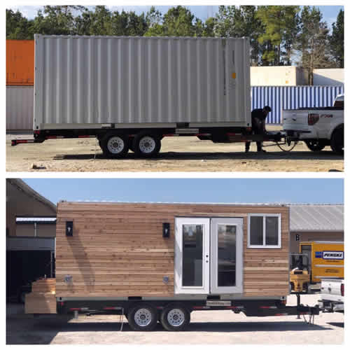 Above: The 20' shipping container Below: The completed 160 square foot Container Home