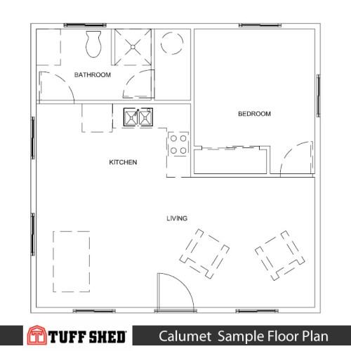 Calumet Sample Floor Plan - 576 square feet