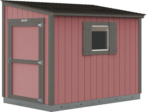 Tuff Shed Premier Lean-To painted Hunt Club Red with Knight's Armor trim