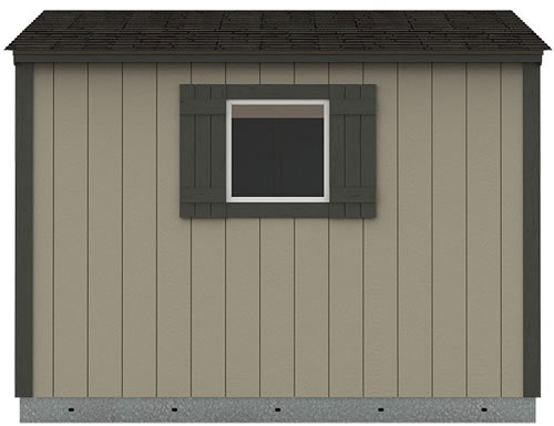 Premier Lean-To from Tuff Shed Shown in Gray By Me paint color with Licorice painted trim and a 2' x 2' window and shutter upgrade