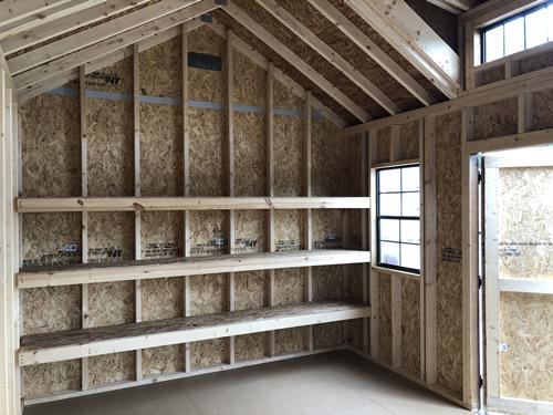 "3 Tier 14"" Deep Shelves 24x36 Window Shed Dormer with Transom Window"