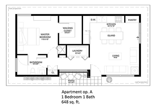 starENERGY 18x36 648 sq ft Small House Kit Floor Plan