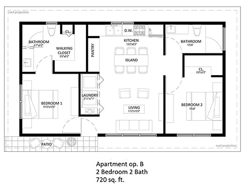 starENERGY 24x40 2-Bedroom 720 sq ft Small House Kit Floor Plan