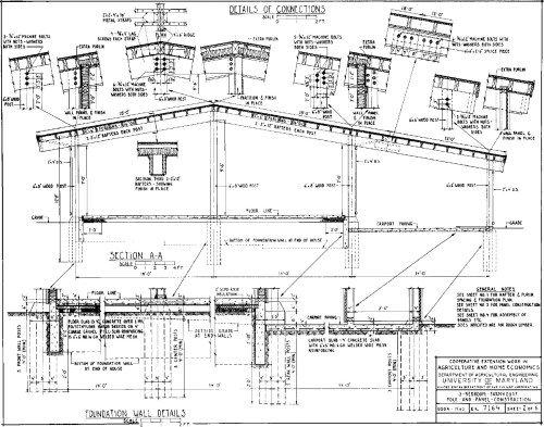 Pole and Panel 3 Bedroom Farmhouse House Plan - Roof Connection Details
