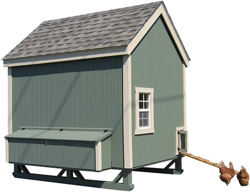 GreenPaint and Tan Trim on a Little Cottage Company Chicken Coop Kit