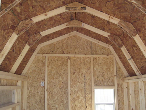 The inside barn roof of the Little Cottage Company Gambrel Barn Coop Kit
