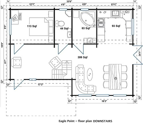 Allwood Eagle Point Cabin Downstairs Floor Plan