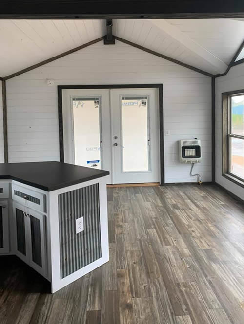 Avery Park Model with walls painted white with black trim