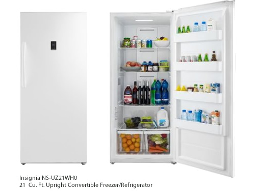 Best Buy Insignia 21.0 Cu. Ft. Upright Convertible Freezer/Refrigerator Model: NS-UZ21WH0