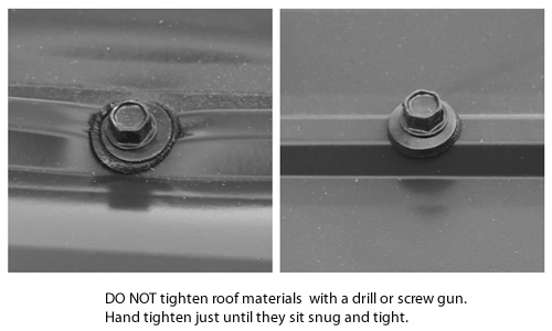 Hand tighten metal roofing bolts