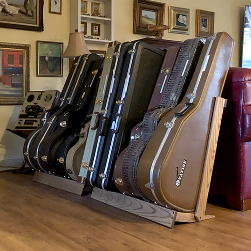 Two String Swing CC29 Guitar Case Stands corral a lot of the clutter