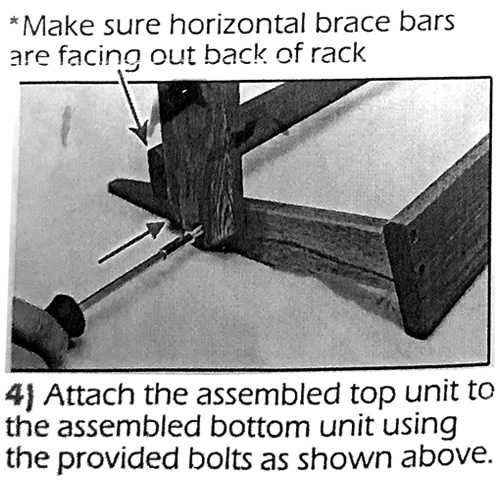 4) Attach the assembled top unit to the assembled bottom unit using the provided bolts as shown above. *Make sure horizontal brace bars are facing out back of rack