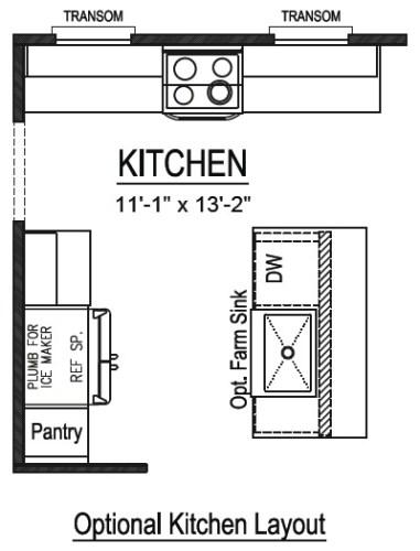 Optional Farmhouse Kitchen Layout