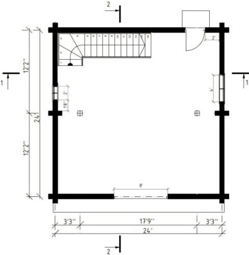 BG-80 24′ x 24' One Car Log Garage with Bonus Room