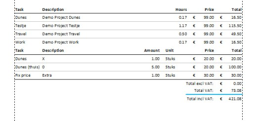 Project Timer invoice template