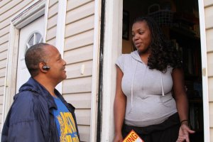 Canvasser Talks to a Voter
