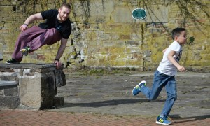 Picture showing Bury parkour classes in action
