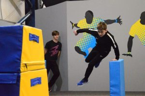 Pictures showing Wigan parkour lessons in action