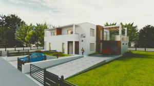 wizualizacja nowoczesnego domu jednorodzinnego z drewnem na elewacji