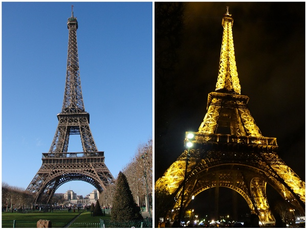 A torre de dia e de noite