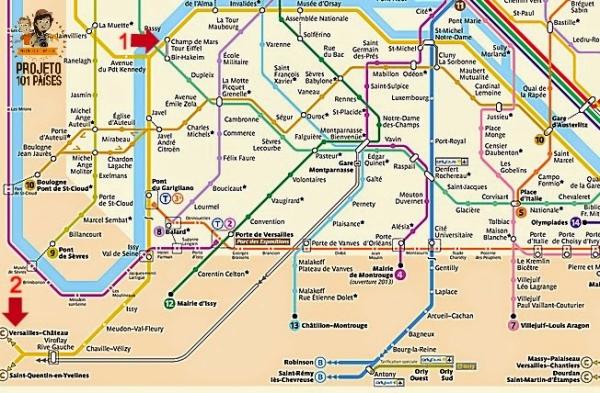Mapa Metro Paris Versalhes