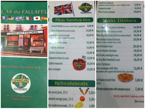 Menu do L' As du Fallafel
