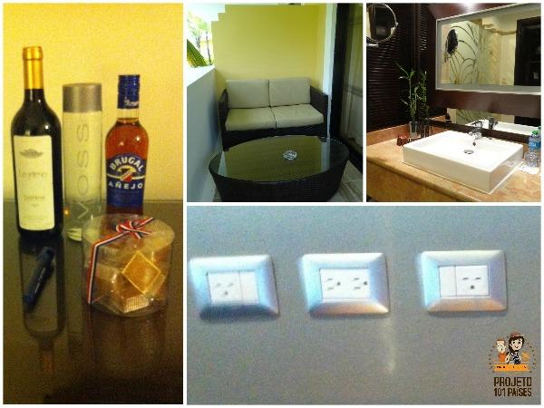 Bebidas e doces para os hóspedes, varanda, banheiro e tomadas