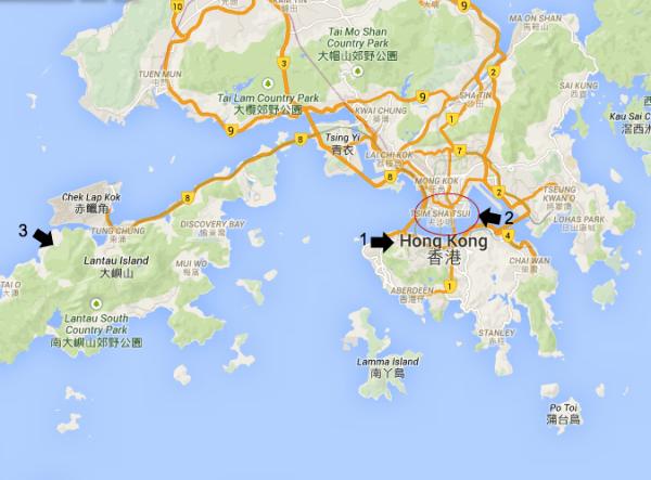 Mapa turistico de Hong Kong