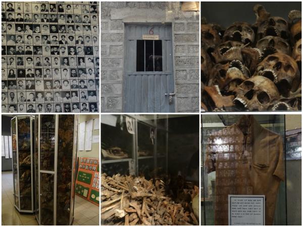 Fotos das vítimas, modelo de prisão, ossadas e objetos pessoais das vítimas.