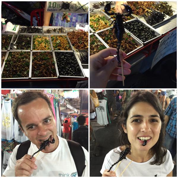 Comendo insetos na Khaosan