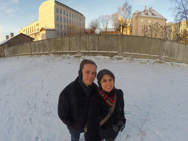Frio e muita neve em Riga, na Letônia