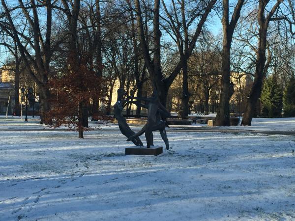 Statue of the three dancers in Kronvalda Park Riga
