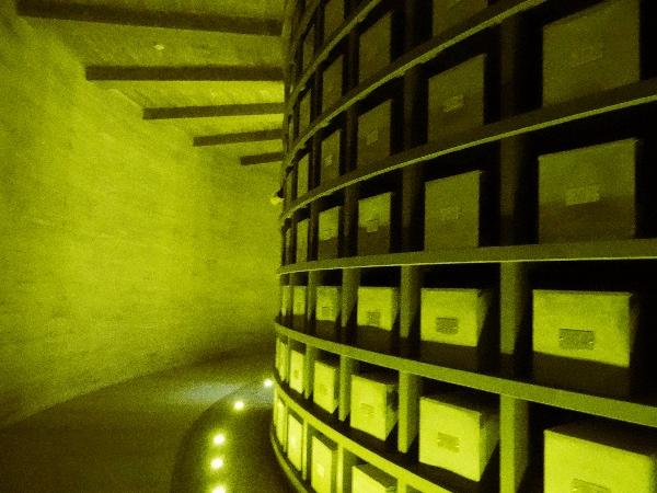 Ossos dentro de caixas no Memorial Complex