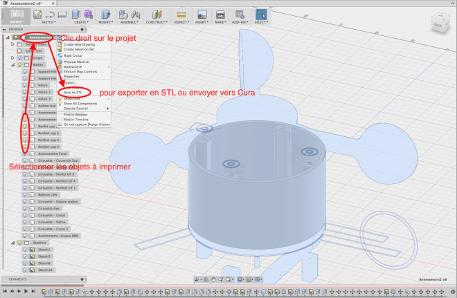 fusion 360 export stl selection multiple plusieurs objets bodie