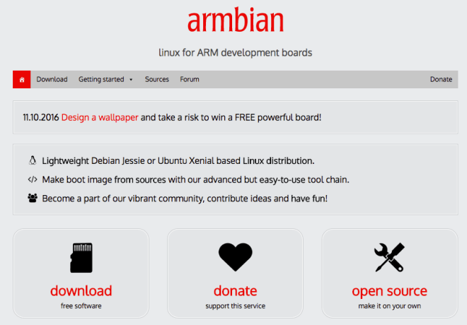 armbian page accueil