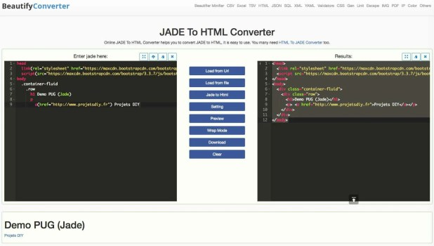 jade to html converter beautify