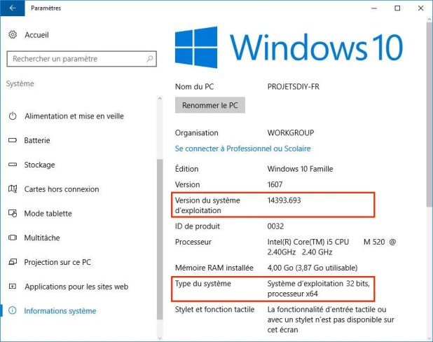 informations systeme windows 32bits capable 64bits
