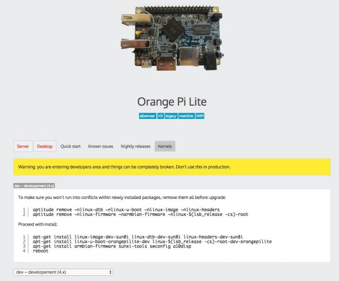 armbian orange pi lite upgrade kernel