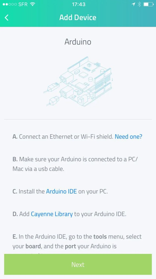 cayenne mydevices add arduino device