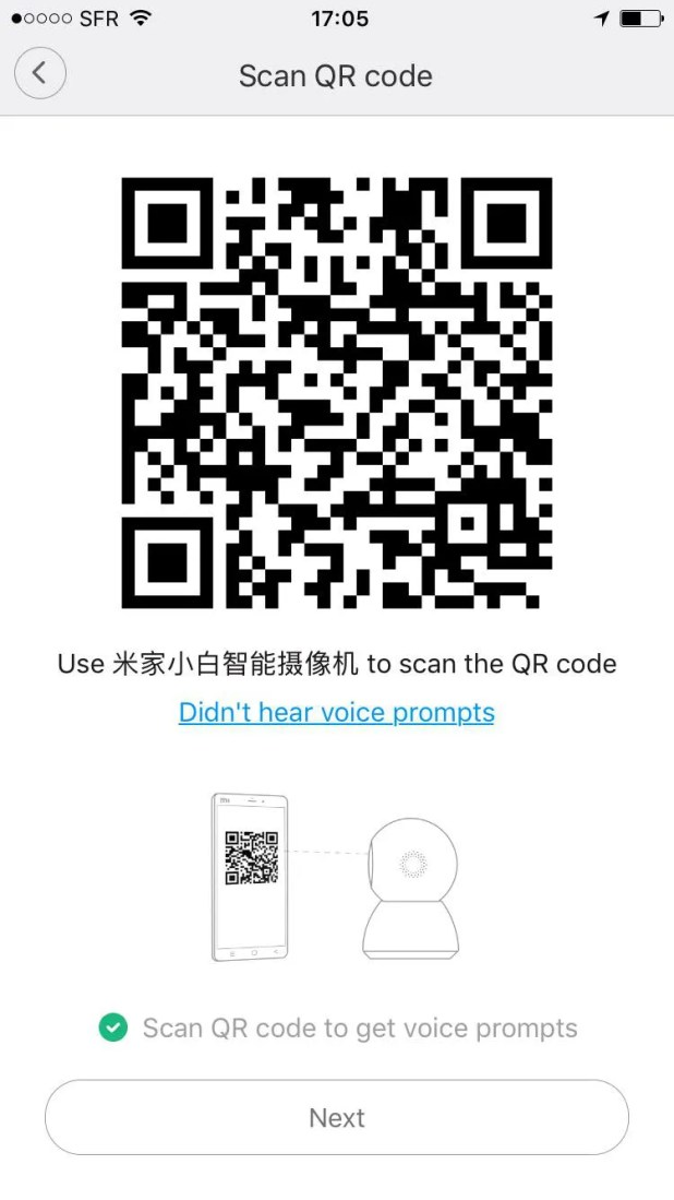 xiaomi mijia camera panoramic 360 - scan qr code to check wifi connexion