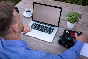man doing web browsing